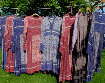 Ad for Available New Old Stock Authentic 70s Block Print Gauze Hippie Festival Dresses~ Made in India- Indie-Earth Tripp