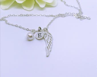 Personalised initial, angel wing & pearl necklace, sterling silver, pearls, sterling silver angel wing, angel jewelry, personalised jewelry.