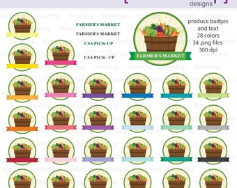 Farmer's Market or CSA Reminder Badge Digital Clipart - Instant download PNG files
