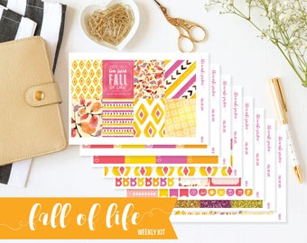 Fall Weekly Kit, Autumn Sticker Kit, Fall Planner Stickers, Autumn Planner, Erin Condren, Vertical Planner Stickers, ECLP, Fall Stickers