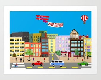Street life poster-Airplane print-architecture print-Buildings Decorative Art Print-Personalized poster-Original-Panorama-Balloon poster