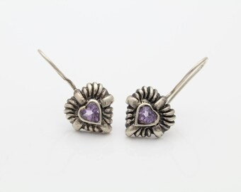 Sterling Silver 925 Amethyst Heart Flower Hook Earrings. [5508]