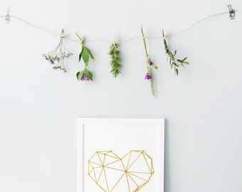 Geometric gold heart print - Geometric heart posters - Large heart posters - Gallery wall prints - Modern minimalist home decor - Gold print