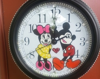 Mini Mouse Micky Mouse Wall Clock 8.75 IN Hand Drawn Hand Painted