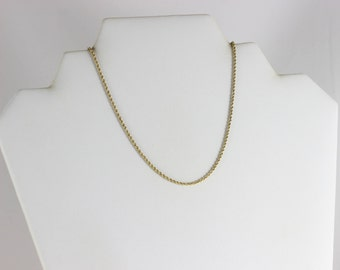 14K Yellow Gold Rope Chain Necklace 18 1/2 inch chain