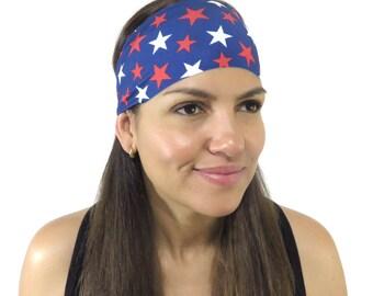 Yoga Headband Running Headband American Flag Headband Red White Blue Headband No Slip Headband Women Wide Headband Hair accessories S162