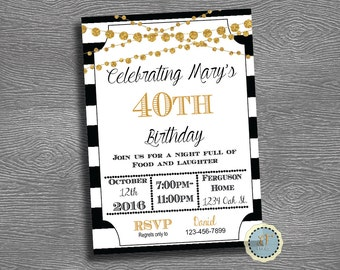 Birthday Invitation- Black White Gold