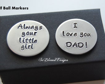 Fathers Day Gifts for Dad, Father of the Bride, Golf Ball Markers, Always your little girl, Father of Bride Gift, Two golf ball markers