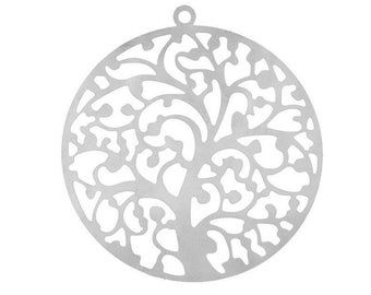 Stainless steel 40 mm filigree tree pendant