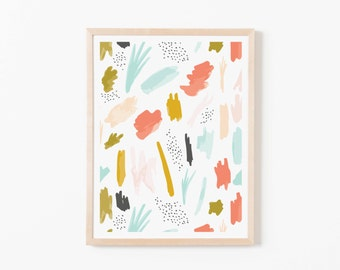 Abstract 01 Nursery Art. Nursery Wall Art. Nursery Prints. Nursery Decor. Girl Wall Art. Coral Watercolor Art. Instant Download.