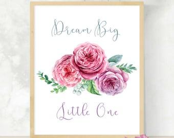 Dream Big Little One   Nursery Wall Art   Dream Catcher Print   Baby Shower Gift   Digital Download   Printable Wall Art  