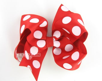 Red and White Polka Dot Hair Bow - Chunky Big Polka Dots Hair Bow - Baby Toddler Girl - 4 Inch Boutique Bow on Alligator Clip Barrette