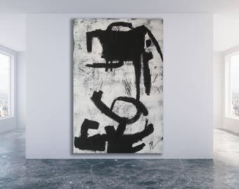 Texture Painting / XL Black and White Art / Modern Art / Original Art / Black and White Painting / Large Texture Painting