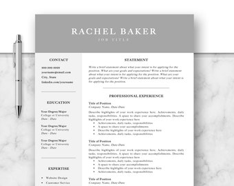 Professional Resume Template, CV, Curriculum Vitae, Template Design, Instant Download For Word, Two-Page Resume, Gray, Rachel