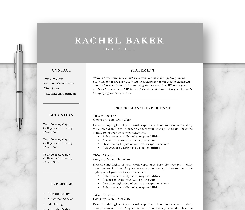 Professional Resume Template, Cv, Curriculum Vitae, Template Design