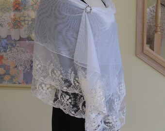 lace shawl, wrap, bridal shawl, wedding shawl, ivory lace shawl