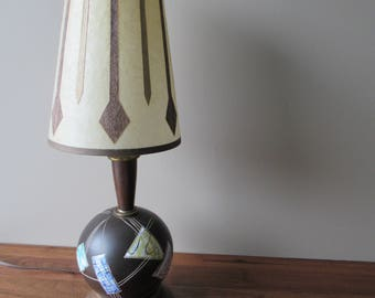 Vintage Ceramic Table Lamp, Colourful Geometric Modernist Design, Mid Century Modern Home Decor