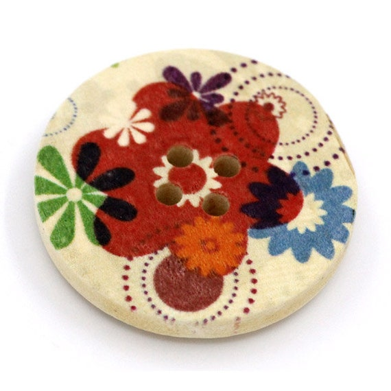 BBR30284 - 6 round buttons with colorful wooden 30 mm
