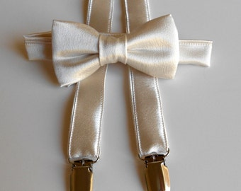 Satin Champagne Bowtie and Suspenders Set- Infant, Toddler, Boy- 2 weeks before shipping