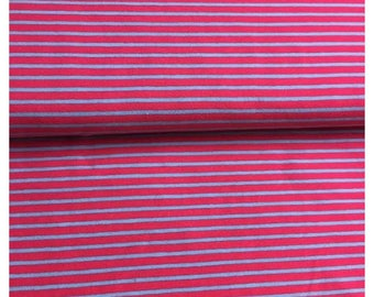 Turquoise blue stripe jersey fabric and pink 100% cotton