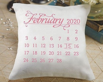 Custom Calendar Wedding Date Wedding Ring Bearer Pillow