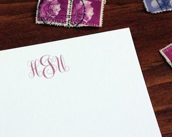 Gertrude Monogrammed Stationery Set - Blank Flat Note Cards - Set of 16
