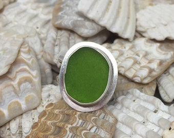 Electric Green Sea Glass and Sterling Silver Ring