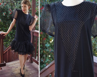 NEW Wave 1980's Does 20's Vintage Black + White Polka Dot DECO Party Dress with Ruffles and Puffed Sleeves // size Medium