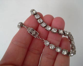 Vintage Silver Tone Rhinestone Tennis Bracelet with Fancy Box Clasp,  Bridal Jewelry, Prom Jewelry, Formal Jewelry, Box Clasp Bracelet