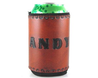 Leather Can Holder Personalized Name Andy Ready to Ship Leather Can Cooler Hand Tooled Leather Can Chiller Leather Can Holder Beer Holder