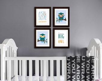 Owl Print Set, Alphabet Print with Name, Custom Name, Dream Big, Owl Nursery, Owl family, Nursery Print, Item 086