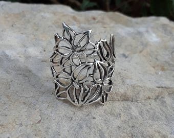 Flower Ring, Solid Sterling Silver Flower Silhouette Ring, Large Flower Ring