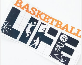 Basketball Decal // Basketball stickers // basketball car decal // Basketball yeti decal // Gift for coach // Vinyl decal // Laptop sticker