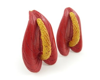 Vintage, Red Flower, Earrings, Clip Ons, Anthurium