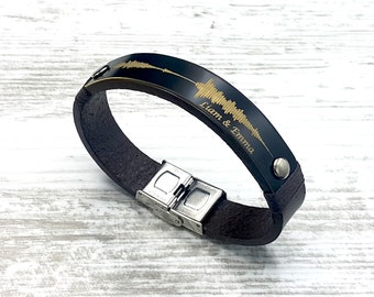 BEST SELLER Father's Day Gift - Personalized Soundwave Leather Bracelet Voice Record Engraved Jewelry Gifts for Husband Gifts for Partner