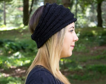 Black Vegan Headband - Panta Finnish Headband - Ear Warmers - Boho Headband - Winter Hair Accessory - Acrylic Hand Knit - Hair Band
