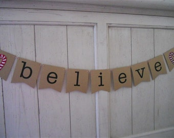 Believe Banner . Believe . Christmas Banner . Christmas Decoration . Holiday Decoration . Holiday . Glitter . Customize Bunting Flag Color