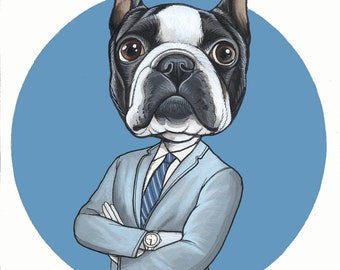 Acrylic Drawing of a Boston Terrier in a suit, A4 size, framed