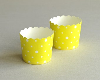 Yellow Polka Dot Baking Cups with Scalloped Tops (set of 12) - small paper cups for cupcakes & muffins  - Perfect for Baby Shower