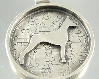 I Love My Doberman Pinscher Sterling Necklace