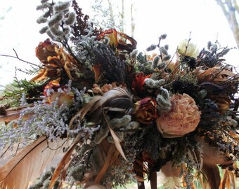 dried flower bouquet, dried bridal bouquet, neutral bridal bouquet, rust and lavender, woodland bridal bouquet, elope, feather bouquet, rose