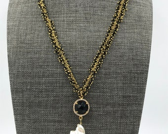 Onyx Cluster Rosary Chain with Baroque Pearl Pendant
