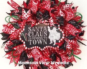 Mesh Christmas Wreath, Christmas Wreath, Santa Wreath, Holiday Wreath, Christmas Decor,Front Door Wreath, Holiday Santa Wreath,Holiday Decor