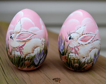 Easter Bunny Egg, Hand Painted Bunny Egg, Hand Painted Wooden Egg, Bunny Egg, Easter Gift, Personalized Easter Gift,