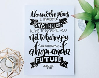 I Know the Plans, A4, hand lettered, wall art, Christian Prints, Christian Gifts