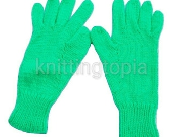 Hand knitted children's gloves in bright green - winter gloves - full fingered gloves - classic gloves - winter accessories