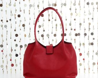 Leather shoulder bag, red leather bag, red leather purse, soft leather tote, red purse, red bag, red tote bag, leather handbag, red shopper