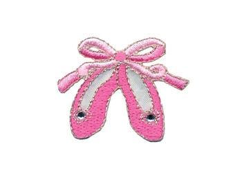 Ballerina Shoes Iron On Applique, Ballet Iron On Patch, Ballerina Patch, Dance Applique, Dance Patch, Kids Patch, Embroidered Patch