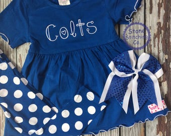 colts dress, colts outfit, blue & white leggings, colts shirt, colts baby gift