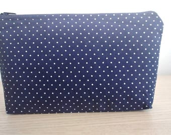 Navy Blue Spotted Cosmetic Bag, Blue Makeup Bag, Makeup Bag, Cosmetic Bag, Small Makeup Bag, Gifts for Her, Mothers Day Gift, Small Cosmetic